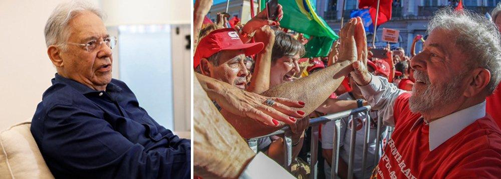 """Jornalista Tereza Cruvinel destaca: """"são os números que dizem isso. Em nenhuma das últimas pesquisas, Lula e Bolsonaro, juntos, ficaram com menos de 50%""""; """"O temor de FHC, portanto, é fundado. Se a eleição estivesse mais próxima, e as elites nacionais fossem mais chegadas à razão que ao preconceito, a candidatura de Lula seria o estuário natural de um grande acordo de pacificação nacional, em torno de um projeto nacional com desenvolvimento e inclusão"""""""