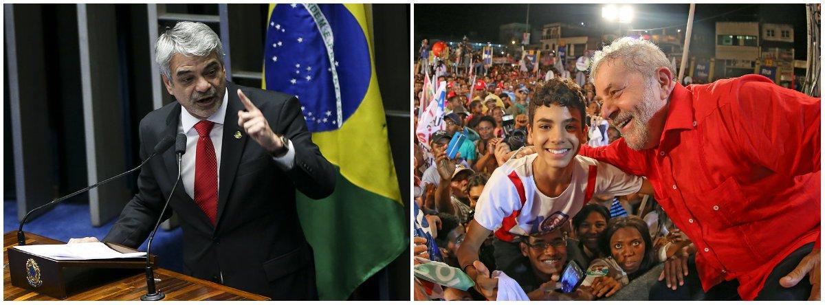 """Após a condenação do ex-presidente Lula pleo TRF4, o líder da oposição no Senado, Humberto Costa (PT-PE) garantiu que três frentes estão sendo trabalhadas para melhor combater a injustiça cometida contra o principal nome do PT: uma judicial, com recursos em instâncias superiores; outra nas ruas, com mobilizações; e no exterior, onde irão denunciar os abusos em todos os fóruns possíveis; """"Vamos denunciar lá fora a face perversa dessa caçada e desnudar esses moralistas de conveniência e vestais de ocasião que, por debaixo de togas pretas, encobrem suas vaidades, suas posições políticas e seus privilégios""""; disse"""