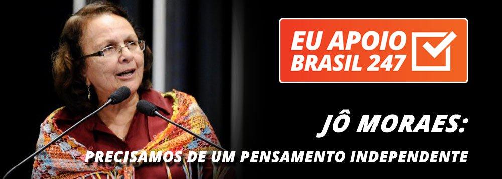 """A deputada federal Jô Moraes (PT-MG) apoia a campanha de assinaturas solidárias do 247. """"A gente vive num tempo em que a velocidade da informação é tamanha que a gente fica refém do pensamento das grandes corporações, que é sempre o mesmo.Por isso é importante termos acesso à mídia alternativa e a um pensamento independente"""", diz ela"""
