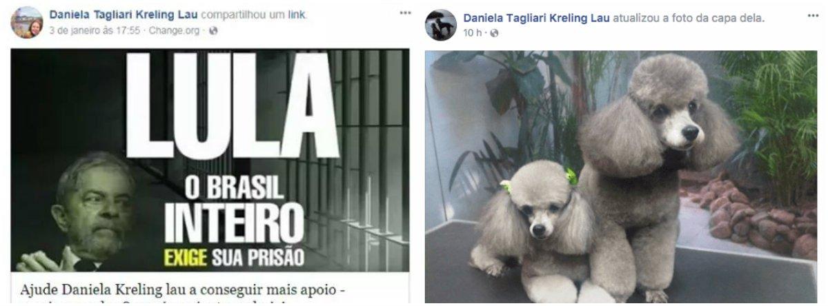 Daniela Tagliari Kreling Lau apagou de seu Facebook as postagens políticas, como a que defendia a prisão de Lula, e mesmo afagos ao MBL e ao prefeito de Porto Alegre, o tucano Nelson Marchezan, que pediu Exército na capital dia 24 de janeiro; em vez disso, ela encheu sua página de fotos de poodles