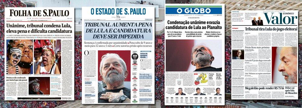 As manchetes dos principais jornais brasileiros demonstram, de forma inequívoca, que o julgamento de Lula só ocorreu para que ele fosse banido da disputa presidencial de 2018 pelo tapetão judicial. Na Folha, condenação dificulta candidatura. No Globo, esvazia. No Valor, impede, enquanto o Estado de S. Paulo adianta que o registro de Lula deve ser barrado. Foi exatamente para que este objetivo fosse alcançado que o Brasil sofreu dois golpes sequenciais – o de 2016, com a derrubada de Dilma sem crime de responsabilidade, e o de 2018, com a condenação de Lula sem provas; a questão é: o povo vai aceitar?