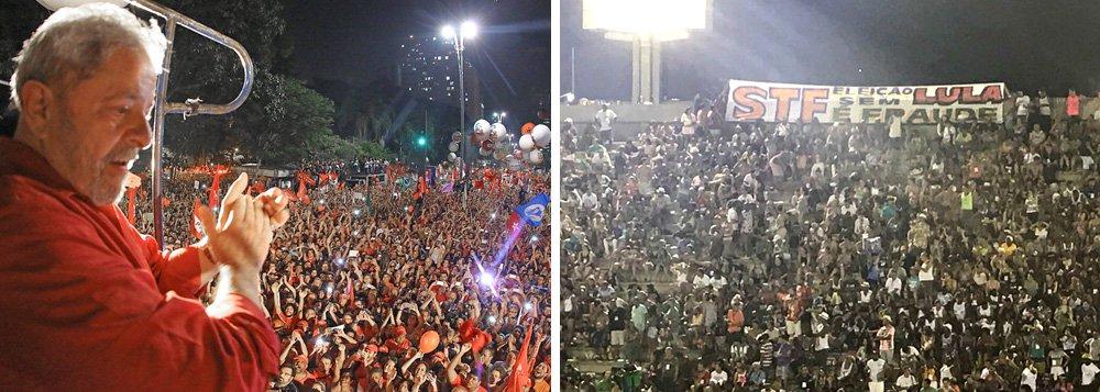 """Depois de uma faixa colocada na entrada da Rocinha, foi a vez de mandar o recado na Sapucaí; os foliões avisaram o STF: """"se prender Lula, o morro vai descer"""""""