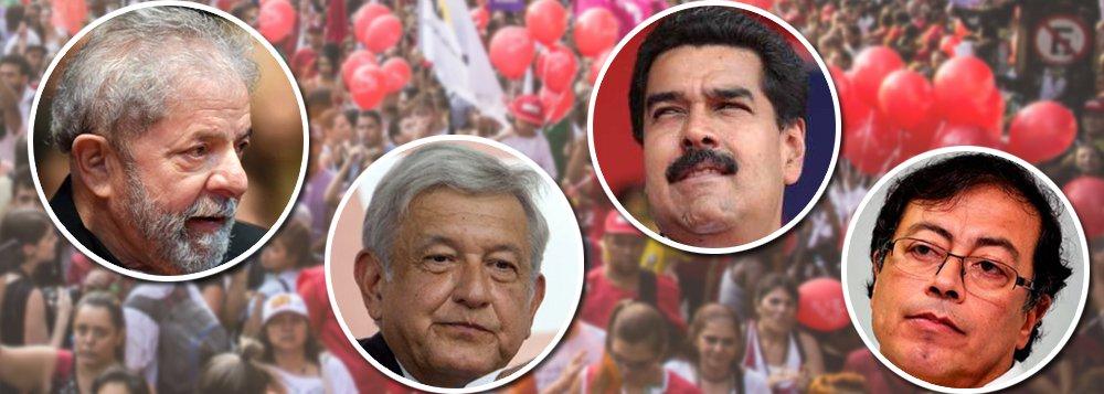 """""""Em meio a enormes turbulências econômicas e políticas, a América Latina elege, este ano, os presidentes de quatro dos cinco países de mais peso no continente: Brasil, México, Colômbia e Venezuela"""", diz o colunista do 247 Emir Sader; """"Nesses quatro países são disputas decisivas para o futuro do continente as que se darão este ano. Nenhuma tem um resultado seguro, mas há tendências prováveis. Não é impossível que no final do ano tenhamos Maduro como presidente reeleito da Venezuela, a candidatos progressistas eleitos na Colômbia e no México e o retorno de um presidente do PT no Brasil"""", diz Emir, ao citar as candidaturas de Lula,Lopez Obrador no México,Gustavo Petros na Colômbia e Nicolás Maduro na Venezuela"""