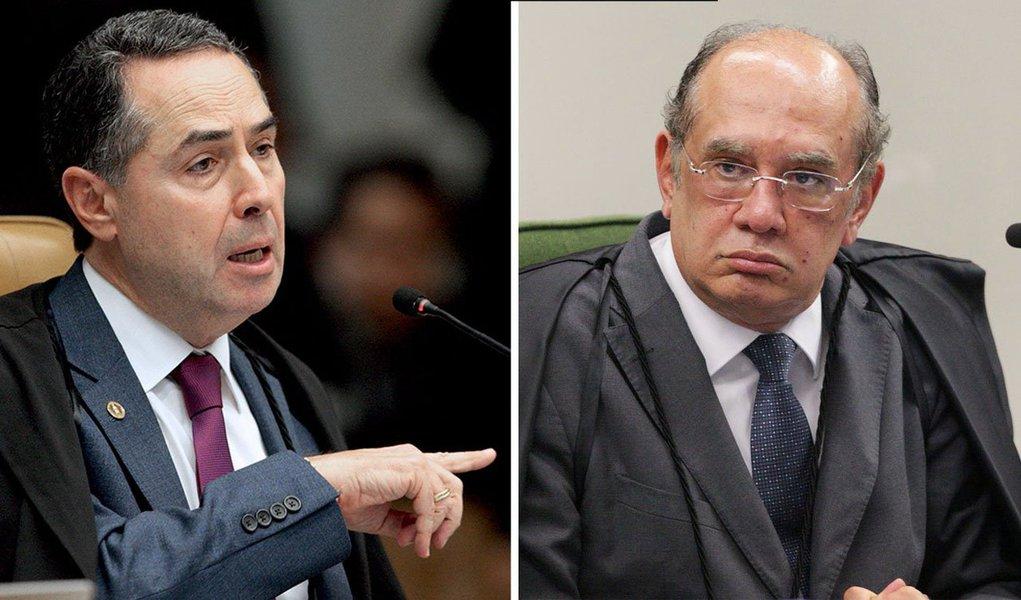 """Ao comentar sobre a demissão do chefe da Polícia Federal, o ministro Gilmar Mendes atacou o colega de STF Luis Roberto Barroso, afirmando que ele """"fala pelos cotovelos"""" e """"antecipa julgamento""""; """"Precisaria suspender a própria língua"""", disse Gilmar; em resposta, Barroso disse ser um juiz independente; """"Acho que o Direito deve ser igual para ricos e para pobres, e não é feito para proteger amigos e perseguir inimigos. Não frequento palácios, não troco mensagens amistosas com réus e não vivo para ofender as pessoas"""", afirmou"""