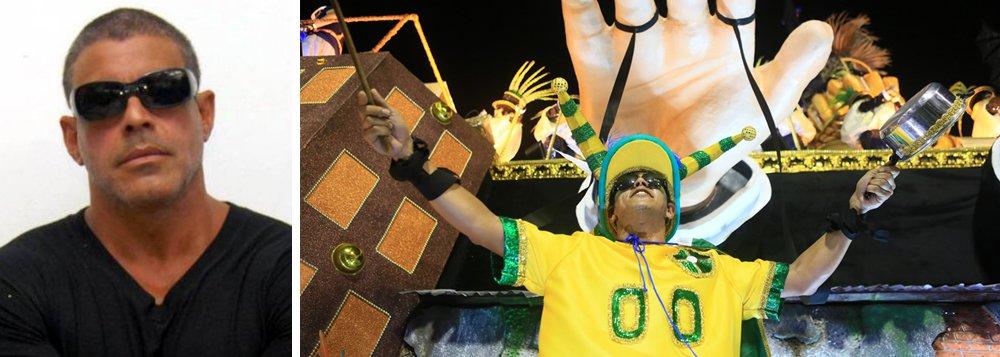 """""""Quero avisar a Tuiuti que palhaço é o caralho sou Brasileiro e lutei muito para tirar Dilma do poder ,e assim como eu milhoes de Brasileiros .Palhaço são vcs .Eu sou Brasileiro .Primeira Escola Comunista no Brasil"""", escreveu Frota nas redes sociais, se sentindo ofendido com o retrato dos manifantoches da Paraíso do Tuiuti"""