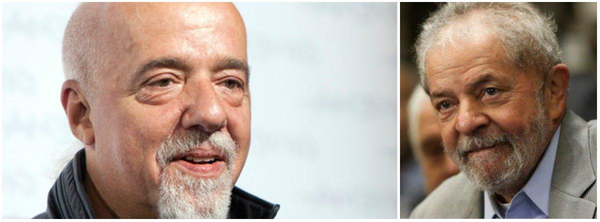"""Em seu Twitter, o escritor Paulo Coelho ironizou a condenação de Lula em segunda instância num momento em que crimes muito mais graves de outros políticos sequer foram investigados ou julgados; """"Finalmente! Agora está tudo 100% no mundo político. Ministros impolutos, Congresso honesto, deputados que pensam apenas no bem do país, senadores que não acobertam crimes de seus pares, juízes que não se deixam pressionar pela mídia e, completando o quadro #LulaCondenado"""", postou"""