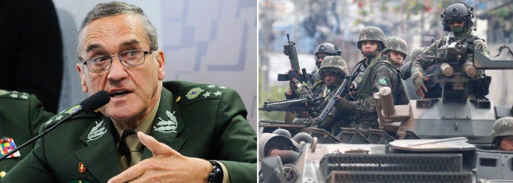 """""""Em junho de 2017, o comandante do Exército, general Eduardo Dias da Costa Villas Bôas, disse que os servidores militares não gostam de atuar na segurança pública"""", lembra a jornalista Lilian Milena, no jornal GGN; """"A declaração foi feita durante uma audiência pública na Comissão de Relações Exteriores do Senado sobre soberania nacional e projetos estratégicos do Exército"""", reforça ela; a jornalista cita a posição do general: """"Nós não gostamos desse tipo de emprego, não gostamos"""", disse ele"""