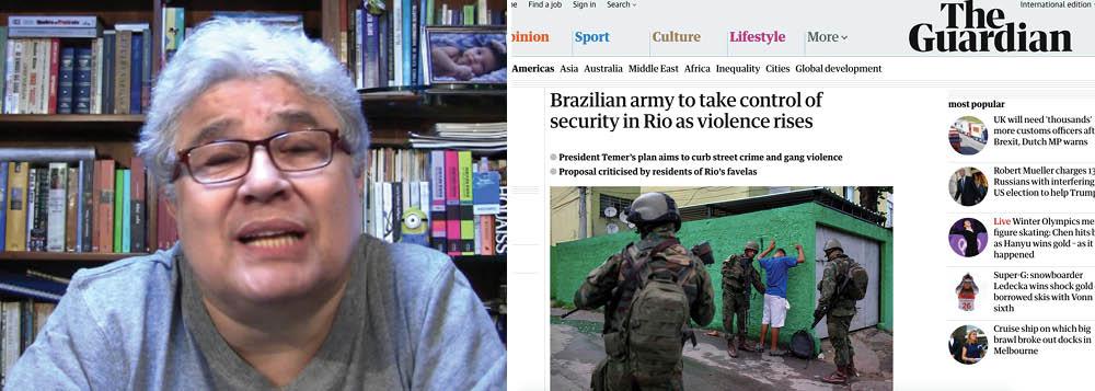 """Jornalista Ricardo Noblat foi ao Twitter para criticar a mídia estrangeira, que não está alinhada ao governo de Michel Temer, por ver com desconfiança e apontar as inconsistências do decreto de intervenção militar na Segurança Pública do Rio de Janeiro; """"Espantosa a ignorância da imprensa estrangeira, ou de parte dela, no que diz respeito ao Brasil. Depois de embarcar no discurso de que o impeachment de Dilma foi golpe, e de que Lula é um perseguido político, agora, com a intervenção federal no Rio, fala em 'sombras da ditadura', disse Noblat"""