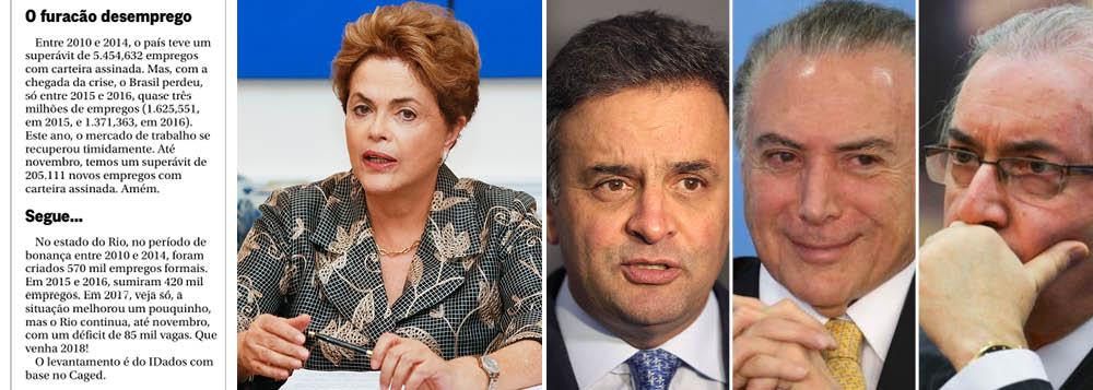 """Em nota publicada nesta segunda-feira 1, o jornal O Globo reconhece como o governo da presidente deposta Dilma Rousseff foi um """"período de bonança"""", muito positivo para o mercado de trabalho, com a geração de 5,4 milhões vagas com carteira assinada; os últimos três anos, no entanto, de preparação do golpe e execução da política de Temer e Meirelles foram desastrosos, com o corte de 3 milhões de vagas; para piorar, praticamente todas as vagas criadas no Rio foram eliminadas"""