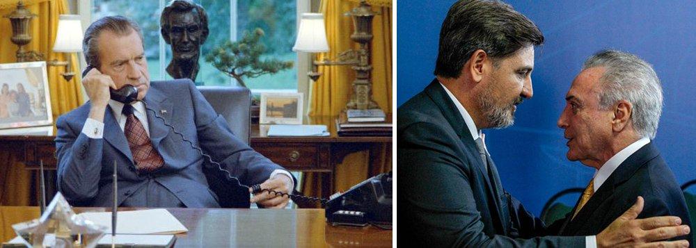 """""""A cada dia que passa a agonia de Michel Temer se torna parecida com a de Richard Nixon, o presidente norte-americano forçado a renunciar para evitar um processo de impeachment"""", escreve Paulo Moreira Leite, articulista do 247; """"Até a divisão interna da Polícia Federal reproduz uma guerra interna no FBI"""", diz ele; para PML, a diferença é que na queda de Nixon """"o sistema político dos EUA se encontrava intacto e foi capaz de encontrar uma saída negociada, enquanto o Brasil de hoje foi destruído pelo golpe que permitiu a chegada de Temer no Planalto e agora tenta prender Lula e impedir sua candidatura a presidência""""; """"Nesse ambiente, o que Temer pode negociar?"""", questiona"""