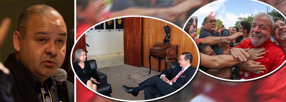 """Presidente da CUT, Vagner Freitas, comenta o pedido do Tribunal Regional Federal da 4ª Região (TRF4) de aumentar a segurança no dia 24, quando o recurso do ex-presidente Lula será julgado em Porto Alegre, e afirma que """"violentos são os que deram o golpe, quebraram a ordem constitucional, rasgaram a Constituição e querem uma sociedade excludente""""; em reunião com a presidente do STF, Cármen Lúcia, segunda segunda-feira 15 em Brasília, o presidente do TRF4, ministroThompson Flores, disse que os desembargadores estão sendo ameaçados, mas não deu detalhes"""