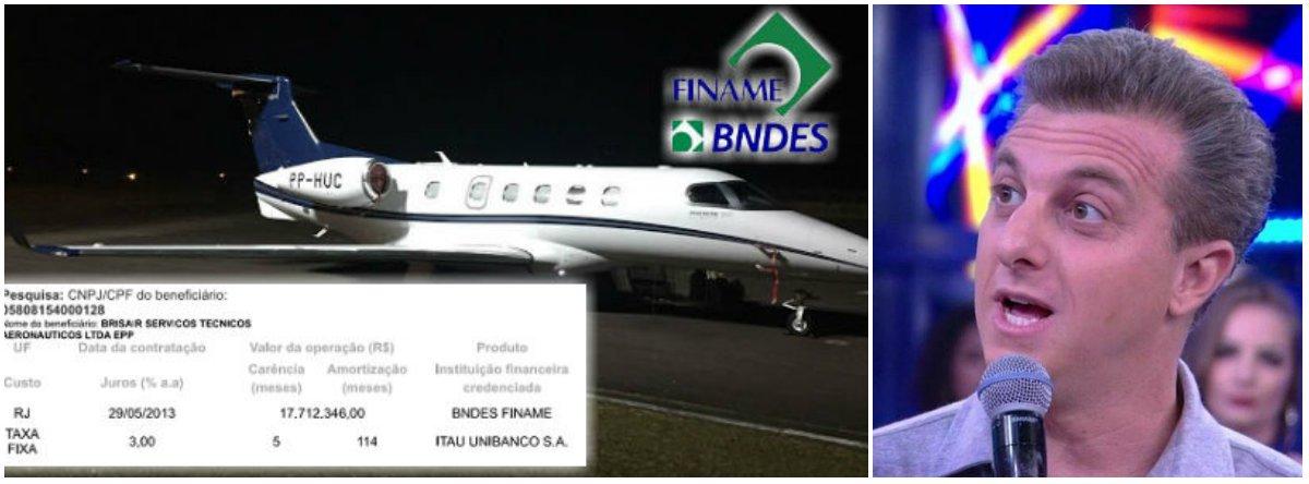 """""""O empresário e apresentador de TV Luciano Huck recebeu, do BNDES, um empréstimo de R$ 17,71 milhões para comprar o jatinho Phenom 505, , prefixo PP-HUC, que usa em seus deslocamentos. O crédito, tomado pela Brisair Servicos Técnicos Aeronáuticos Ltda, empresa pertencente a ele eà mulher, Angélica, foi obtido pela linha do Finame (financiamentos a máquinas e equipamentos), a juros de 3% ao ano"""", revela o jornalista Fernando Brito"""