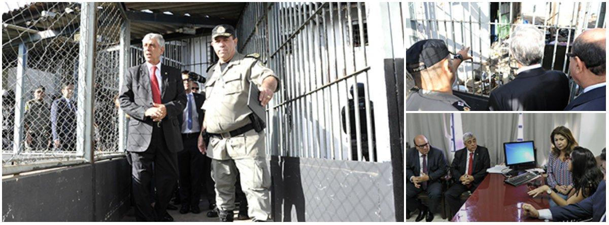 Representantes do Tribunal de Justiça de Goiás, do Ministério Público e da Defensoria Pública estaduais e da Comissão de Direitos Humanos da OAB em Goiás (OAB-GO) inspecionaram nesta quarta-feira 3 o Complexo Prisional de Aparecida de Goiânia, palco de uma rebelião em que ao menos 9 detentos foram mortos e 14 ficaram feridos, após determinação da presidente do STF, ministra Cármen Lúcia;segundo o presidente da Comissão de Direitos Humanos da OAB, o clima na unidade prisional continua tenso