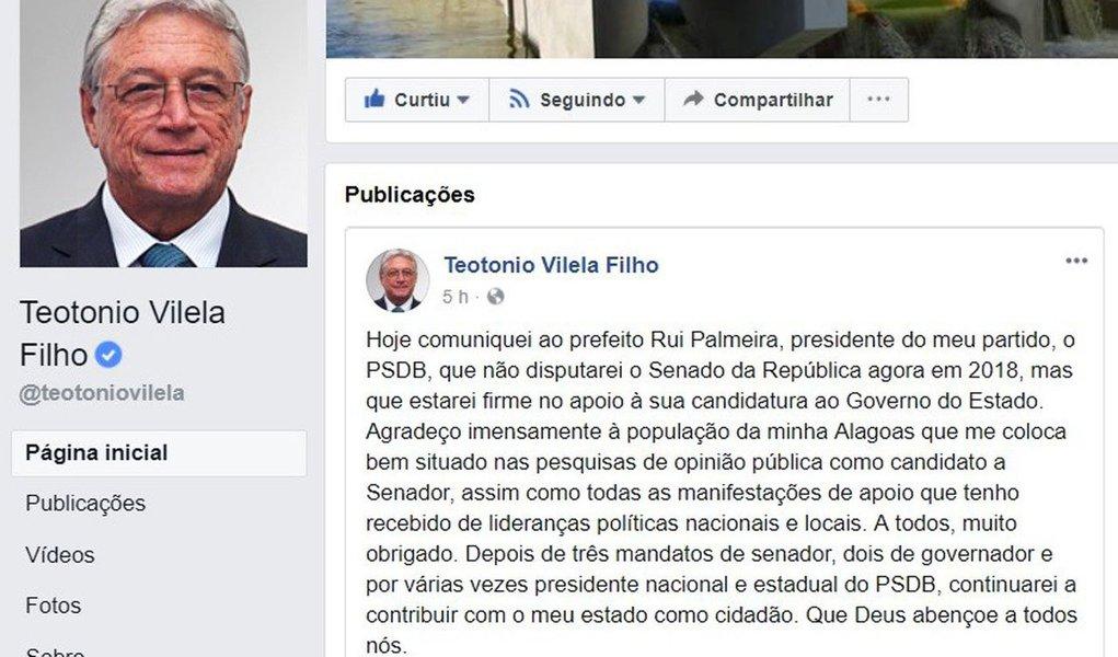 O ex-governador de Alagoas, Teotonio Vilela (PSDB), anunciou em sua rede social que não disputará o Senado nas eleições deste ano; mesmo depois de ter o seu nome envolvido pela PF no esquema de propinas de construtoras nas obras do Canal do Sertão - em 2017 foi acusado de corrupção ativa pelo executivo da Odebrecht Alexandre Biselli, um dos delatores na Operação Lava Jato -, ele sempre aparecia em segundo ou terceiro lugar nas pesquisas; Vilela elegeu-sesenadorem1986, foi reeleito em1994e2002, migrou para oPSDBem 1988 e se tornou presidente nacional de 1996 a 2001