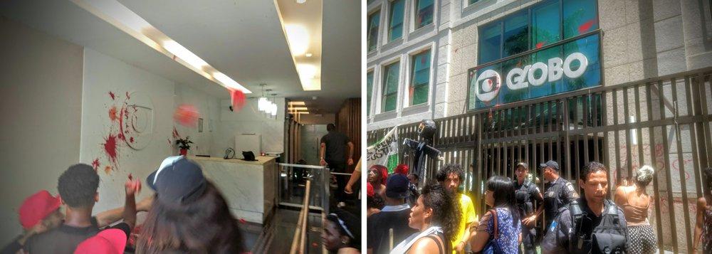 """Manifestantes que ocupavam a calçada da Rede Globo, no Rio de Janeiro, em apoio ao ex-presidente Lula,entraram no prédio da emissora; letreiro externo e logotipo da empresa foram manchados de vermelho; """"Precisamos mostrar que o povo não aceitará uma condenação com cartas marcadas. Criou-se um espetáculo jurídico com nítida sustentação da rede Globo"""", afirmou Paulo Henrique, ligado ao MST"""