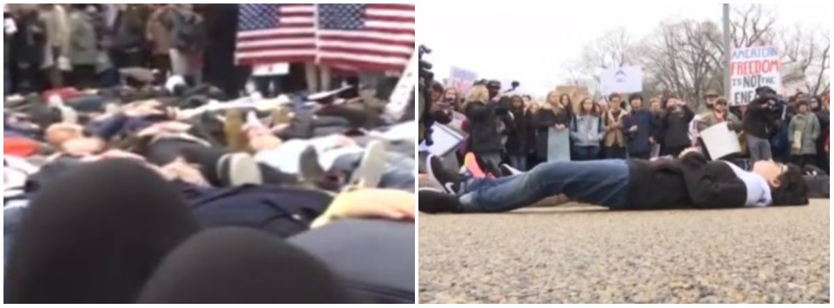 Protesto foi feito após o tiroteio em uma escola de ensino médio de Parkland, na Flórida, que deixou 17 mortos; diferentes grupos de estudantes se revezaram deitando-se na Avenida Pensilvânia, bem em frente à Casa Branca, por três minutos cada; o objetivo foi simbolizar o pouco tempo que o autor do tiroteio Nikolas Cruz demorou para comprar o fuzil semiautomático
