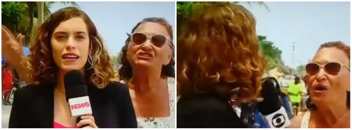 """AGloboNewsfoi alvo neste domingo (18) de mais uma manifestação contra a emissora em um link ao vivo; em uma entrada na Praia do Arpoador, no Rio de Janeiro, a repórter que tratava da pauta da intervenção militar no estado foi interrompida por uma mulher gritando """"Globo Lixo""""; a jornalista tenta se esquivar e pede """"licença"""" para fazer o seu ao vivo, mas a mulher prossegue, desta vez com seguidos """"Fora, Temer"""""""