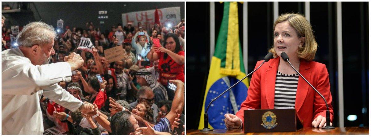 """Com a proximidade do julgamento do ex-presidente Lula, a senadora Gleisi Hoffmann (PT-PR) afirmou que """"a única solução possível do ponto de vista legal"""" é a absolvição do petista da condenação a nove anos e meio de prisão decretada pelo juiz Sergio Moro; """"Uma sentença condenatória não será uma sentença justa"""", disse ela, em ato em Porto Alegre a favor da candidatura do petista à presidência da República; """"É um processo político, então é na política que a gente tem que recorrer"""""""