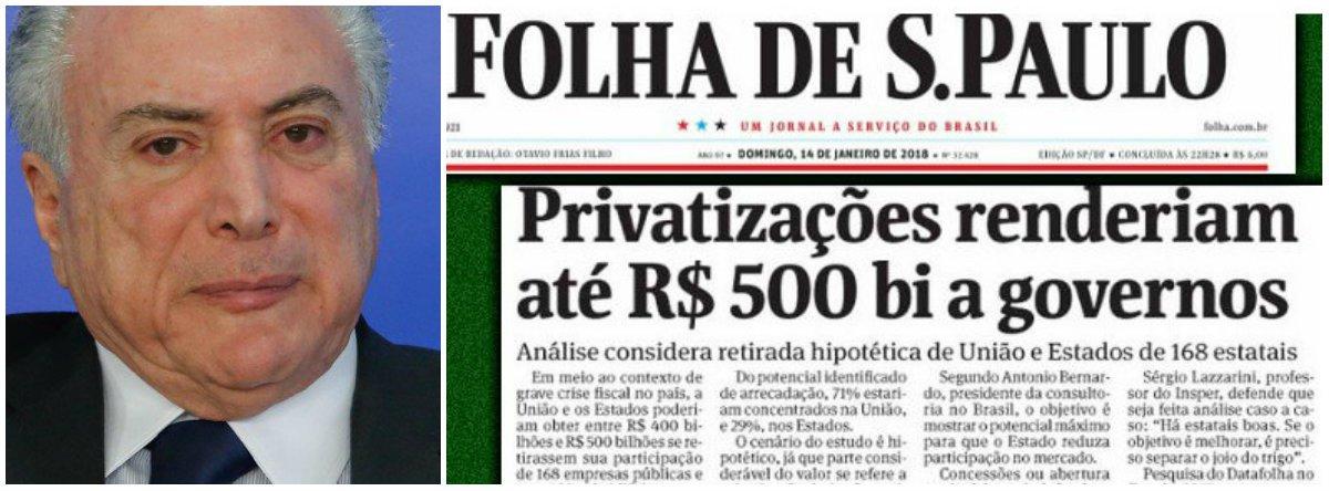 """""""A manchete da Folha estima (?) o valor que teriam as empresas estatais brasileiras, caso fossem vendidas. Para impressionar com os números, a reportagem passa """"batido"""" por algumas perguntas que nem de longe são respondidas"""", diz Fernando Brito, editor do Tijolaço; """"Por que empresas tão criticadas, como obsoletas, deficitárias, inúteis e com pouca ou nenhuma utilidade senão servirem de cabides de empregos – o discurso privatista o diz, não é? – valem tanto?"""""""