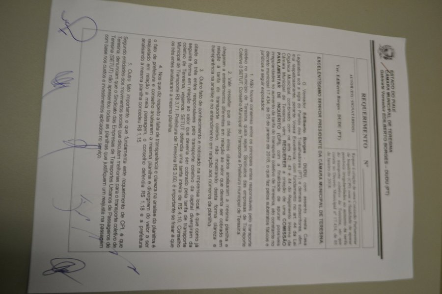 O vereador Edilberto Borges, o Dudu (PT), propôs nesta quarta-feira (6), na Câmara Municipal. a criação de Comissão Parlamentar de Inquérito (CPI) para investigar o valor da passagem do transporte público de Teresina; o requerimento do vereador já conta com 7 das 10 assinaturas necessárias para instalação da CPI