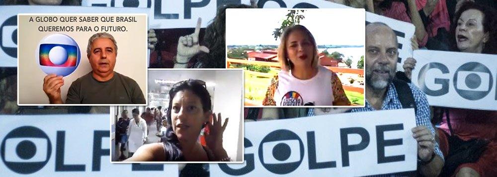 """Depois de liderar o golpe de 2016, que instalou uma quadrilha no poder e desempregou milhões de brasileiros, a Globo lançou uma campanha pedindo que internautas gravem vídeos dizendo """"que Brasil desejam""""; o resultado foi uma avalanche de críticas à emissora; de um lado, a jornalista Luciana Oliveira pediu um """"Brasil sem mídia golpista"""", enquanto o professor Claret Santos afirmou que """"enquanto houver Globo, não haverá democracia""""; no Rio, Ieda Paiva gravou um vídeo num hospital e pediu ao povo que """"não valorize nada do que a Globo faz ou representa"""""""