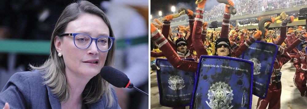 """A deputada federal Maria do Rosário (PT-RS) afirmou que a escola de samba """"mostrou o Inferno do Brasil: Temer vampiro, fantoches com a camiseta da seleção, a carteira de trabalho destruída, e o símbolo é um Pato Amarelo""""; """"E a TV foi obrigada a mostrar para o mundo. Viva o Carnaval do povo que não é bobo!"""", acrescentou a petista em sua conta no Twitter"""