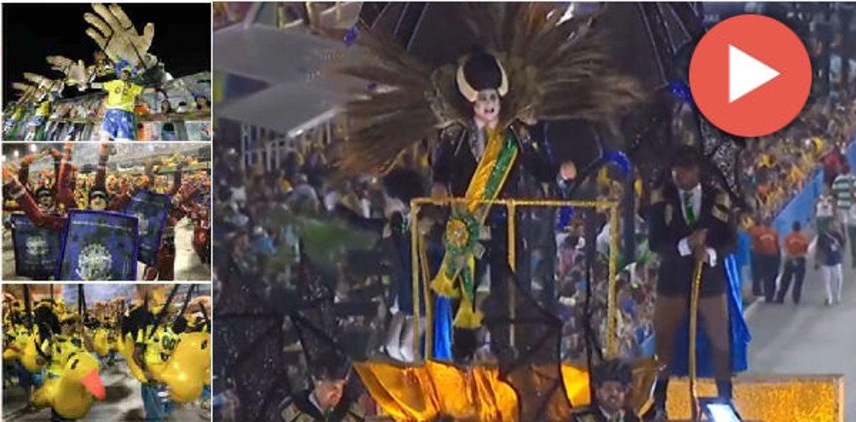 """A uma plateia de mil executivos do mercado financeiro, o deputado federal Jair Bolsonaro disse que """"se os bandidos não se entregassem, metralharia a Rocinha"""", informa o colunista Lauro Jardim, do jornal O Globo; na noite deste domingo (11), o desfile da Paraíso do Tuiuti deu a resposta ao selvagem Bolsonaro, comenta o jornalista Fernando Brito, no blog Tijolaço; expôs o ridículo de patos, coxinhas e vampiros do Brasil de Michel Temer"""