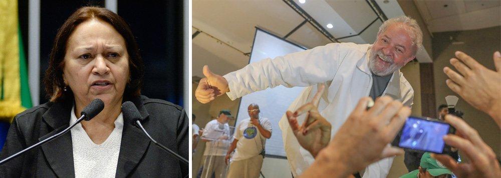 """Senadora Fátima Bezerra comemora o sucesso da mobilização nacional do último sábado 13, quando mais de 900 comitês foram instalados no País em defesa da democracia e do direito de Lula ser candidato; """"Dia 13 foi uma etapa muito importante e seguramente sinaliza para uma explosão popular nos dias 23 e 24 em Porto Alegre. Querem enfrentar o presidente Lula? Venham pelo voto, através da soberania popular. Outro caminho não aceitaremos. Tapetão não"""", afirma"""