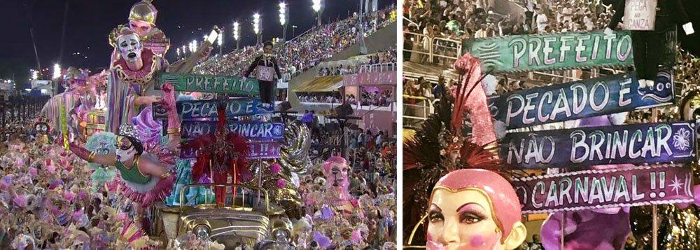 """""""Prefeito, pecado é não brincar no Carnaval"""", dizia faixa da escola de samba da Mangueira, durante a primeira noite de desfiles no sambódromo do Rio de Janeiro"""