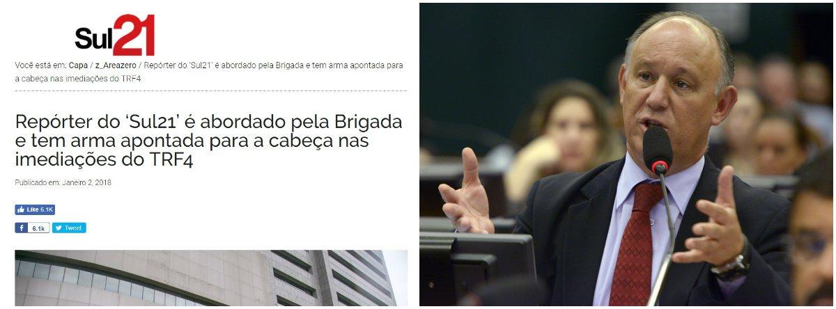"""Nesta terça-feira 2, alguns minutos depois de ter tirado fotos externas do prédio do TRF4, em Porto Alegre, o repórter fotográfico Guilherme Santos, do site Sul 21, foi abordado por quatro policiais em uma viatura e teve uma arma apontada para sua cabeça;""""Sartori e o comando da Brigada Militar devem explicações pelo atentado à liberdade de imprensa em Porto Alegre!"""", postou Pepe Vargas no Twitter"""