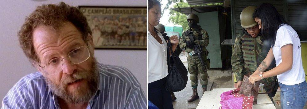 """O ex-chefe da Polícia Civil no Rio de Janeiro, Helio Luz, 72 anos, criticou a intervenção militar no Rio de Janeiro. """"Por que cercar a favela, se o crime não está ali? O cerne da questão da insegurança não está ali. Aquilo ali é o resultado"""", disse ele em entrevista à BBC Brasil; """"Quem paga a conta no final é o favelado. Somos o país da desigualdade. E ficamos preocupados porque tem problema, entende, na senzala. Afrouxou a senzala, então agora tem que apertar de novo. Então chama o capitão do mato para dar uma solução na senzala do século 21"""", disse"""