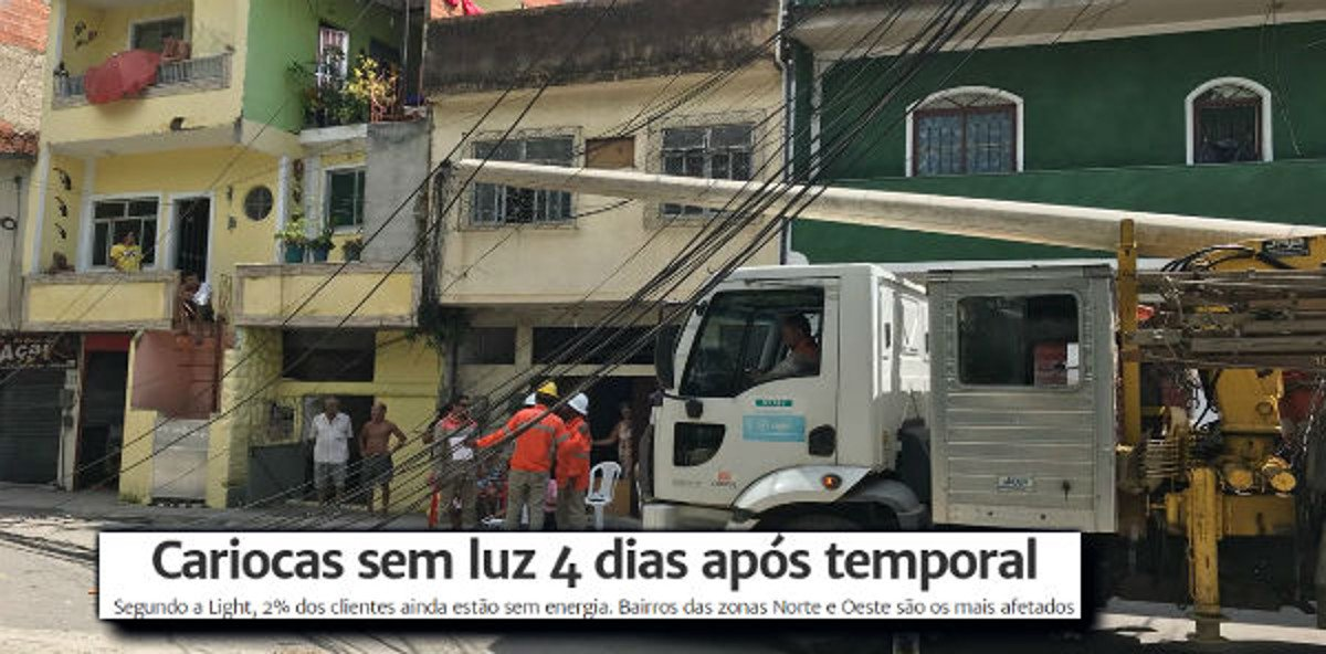 """Dados da própria Light, a concessionária de distribuição de luz da cidade do Rio de Janeiro, mostram que """"quatro dias após o temporal que caiu no Rio, na noite da última quarta-feira, 2% dos moradores do Rio ainda permanecem sem luz"""", a maioria da região da Penha; """"se esses 130 mil moradores fossem de Ipanema, Copacabana ou Flamengo, isso estaria sendo tratado como uma catástrofe"""", escreve o jornalista Fernando Brito, no blog Tijolaço"""