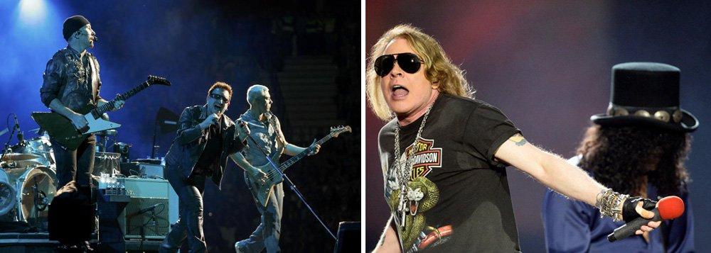 """A banda irlandesa U2 acumulou US$ 316 milhões com os 50 shows da turnê de comemoração de seu 30º aniversário, """"Joshua Tree"""", sendo seguida pela banda de hard rock Guns N'Roses, que arrecadou US$ 292,5 milhões, de acordo com o ranking das 20 maiores turnês de 2017 da publicação especializada Pollstar; o grupo britânico Coldplay ficou em terceiro lugar, com US$ 238 milhões, na lista na qual Bruno Mars, de ascendência porto-riquenha e filipina, foi o único cantor não branco entre os 10 mais bem colocados, com lucro de US$ 200 milhões"""