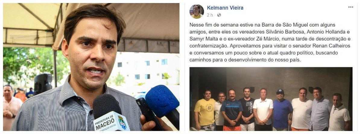 Depois de algumas especulações, o presidente da Câmara Municipal de Maceió, Kelmann Vieira (PSDB), confirmou que vai apoiar a reeleição de Renan Calheiros para o Senado; ao justificar o primeiro voto para Calheiros, Kelmann lembrou que o senador foi seu padrinho político e o ajudou em sua primeira eleição, em 2012; dos 21 vereadores da capital, 16 decidiram que vão apoiar o senador