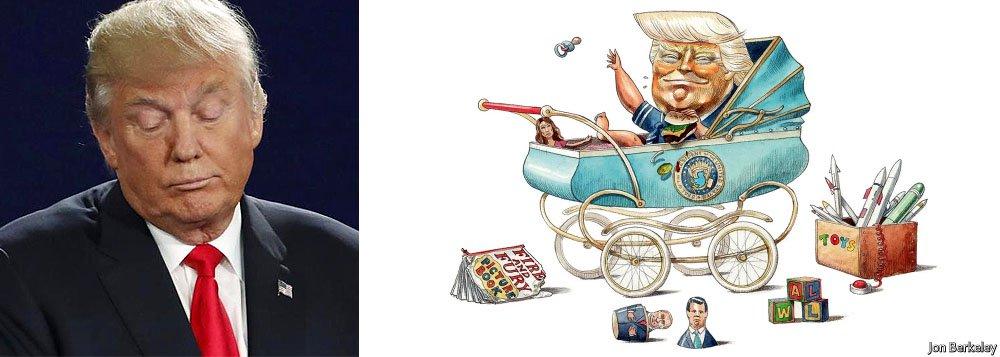 """Capa da revista inglesa The Economist retrata o presidente dos Estados Unidos, Donald Trump, como um bebê; Trump, que está completando um ano de mandato, é alvo do livro """"Fogo e Fúria"""" - que o retrata como um """"imperador infantil monstruosamente egoísta""""; revista destaca que o país está """"envolvido em um debate sobre a sanidade mental do presidente; estudo feito com base nas 30 mil primeiras palavras de Trump desde a sua eleição, mostra que ele se expressa com o nível de um aluno entre o segundo e o sexto no escolar – equivalente a oito anos de idade"""