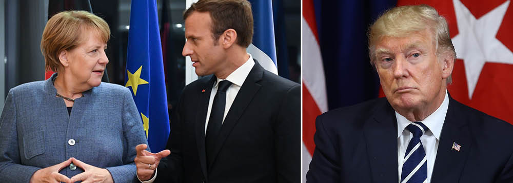 A chanceler alemã Angela Merkel considera se juntar ao presidente francês, Emmanuel Macron, no Fórum Econômico Mundial, em Davos, na próxima semana, no que pode se tornar um confronto épico de visões de mundo com o presidente norte-americano, Donald Trump