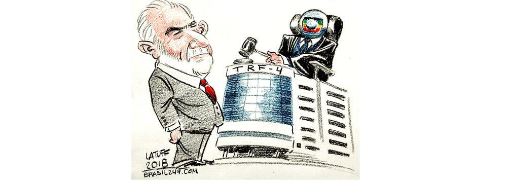Cartunista Latuff questiona quem realmente está julgando o ex-presidente Lula: serão os desembargadores do TRF-4 ou a Rede Globo que pretende tirá-lo da disputa presidencial para seguir mandando e desmandando no País?