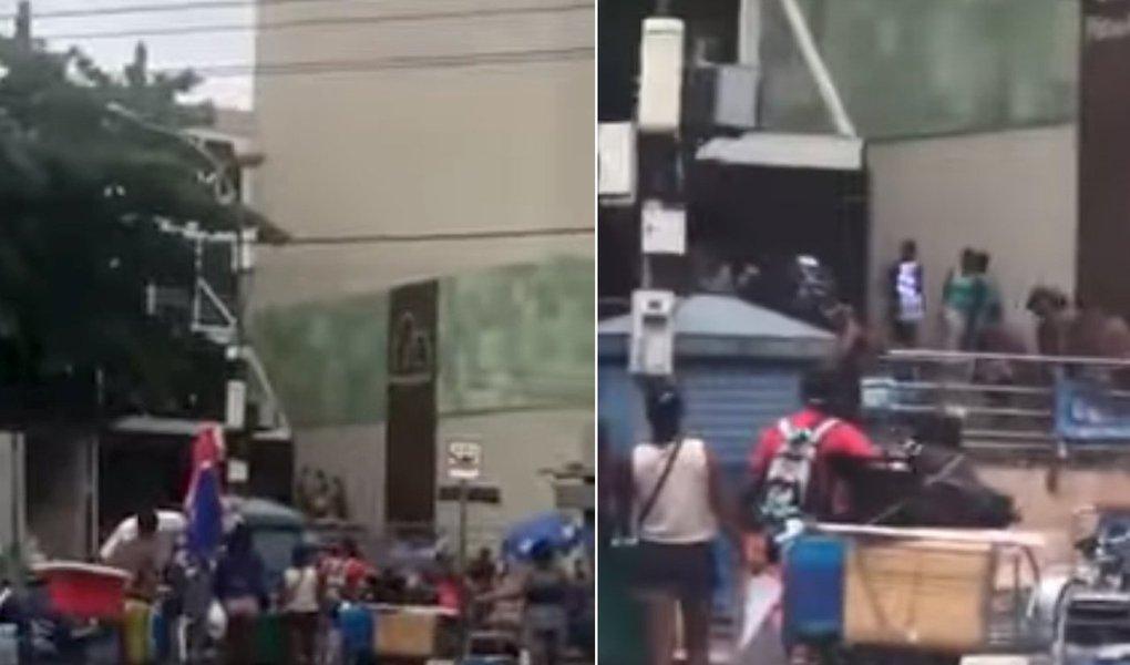 """O estabelecimento fica na na Rua José Linhares, no Leblon, um dos bairros com o metro quadrado mais caros do País; o administrador de empresas, Luiz Eduardo Coimbra, passava pelo local e fez um vídeo; """"Não demorei muito porque tive medo de levar uma bala perdida"""", disse; assista ao vídeo"""