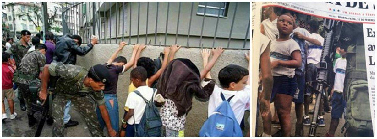 Ambas chocantes, as fotos levam a gente a várias reflexões e revolta. fico pensando no trauma destas crianças confrontadas desta forma.Estes caras estão preparados para enfrentar criminosos se não sabem nem discernir criança de bandidos?