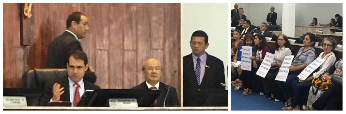 A Câmara Municipal de Fortaleza (CMFor), sob a presidência do vereador Salmito Filho (PDT-CE), realizou hoje (15), uma audiência pública sobre a reforma da Previdência, com a participação do senador José Pimentel (PT-CE). O senador, na condição de ex-ministro da Previdência, no primeiro governo do ex-presidente Lula, conhece profundamente o assunto e apresentou dados oficiais destacando a real situação do sistema previdenciário brasileiro, mostrando claramente o real objetivo do Governo Temer ao querer fazer a reforma. No plenário, um grupo de mulheres protestava, portando cartazes, contra a reforma da previdência