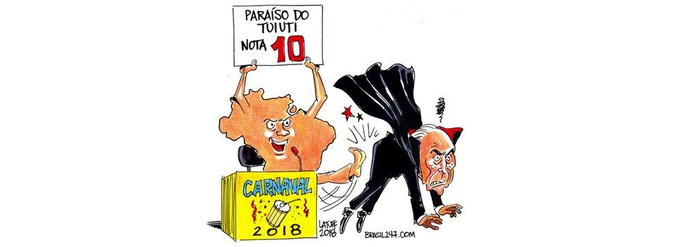 Em charge para o 247 sobre o Carnaval, o cartunista Carlos Latuff diz que a Beija-Flor é a campeã oficial do carnaval de 2018, mas a Paraíso do Tuiuti, que denunciou o golpe ao mundo, é a campeã do coração de todos os brasileiros