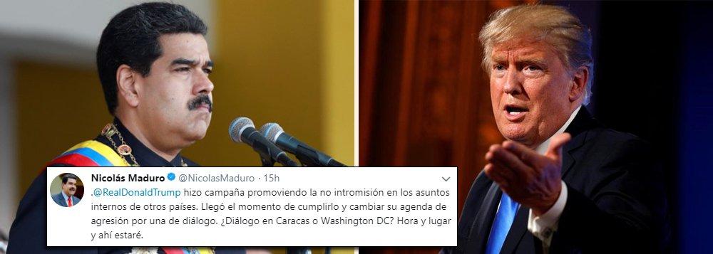 """O presidente da Venezuela, Nicolás Maduro, desafiou nessa segunda-feira (19) o presidente dos Estados Unidos, Donald Trump, a estabelecer um diálogo em Caracas ou Washington e pediu que ele mude """"sua agenda de pressão"""" contra a chamada revolução bolivariana; """"(Trump) fez campanha promovendo a não intromissão nos assuntos internos de outros países. Chegou o momento de cumprir isso e mudar a agenda de agressão por uma de diálogo. Diálogo em Caracas ou Washington? Diga hora e lugar e aí estarei"""", escreveu o presidente venezuelano no Twitter, onde marcou o perfil de Trump"""