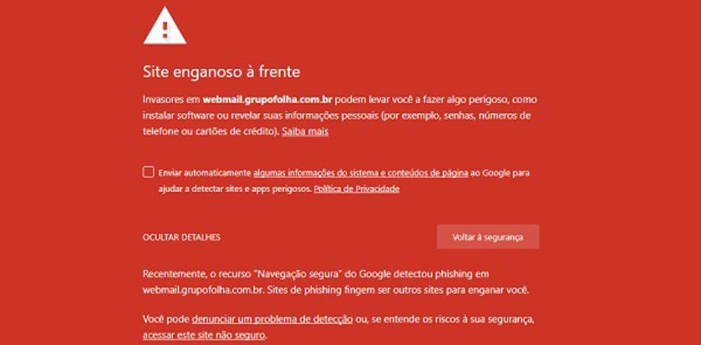 """A página da Folha de S. Paulo foi atacada nesta quinta-feira, 8; o endereço do jornal levava a um site que os sistemas de segurança do Chrome e do Google apontam como sujeito à coleta de informações sobre o usuário; """"Justamente no dia em que a Folha anuncia que não veicula mais suas matérias no Facebook é, no mínimo, suspeita de retaliação"""", diz o jornalista Fernando Brito"""