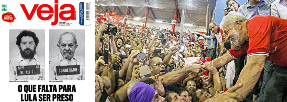 """Uma das maiores patrocinadoras do ódio ao ex-presidente Lula, a revista Veja estampa na edição deste fim de semana montagem em que defende a prisão de Lula, como na ditadura militar; a revista da família Civita não esconde que o principal motivo da condenação sem provas e da eventual prisão do ex-presidente """"em 40 dias"""" será eliminar o líder na preferência do eleitor brasileiro nas eleições de outubro; para isso, dá como certa a inabilitação de Lula pela Lei da Ficha Limpa; no ato em que o PT lançou Lula à presidência, o senador Lindbergh Farias resumiu o que acontecerá caso Lula seja preso, como quer a Veja; """"Pra prender o Lula, vocês vão ter que prender milhões de brasileiros"""""""