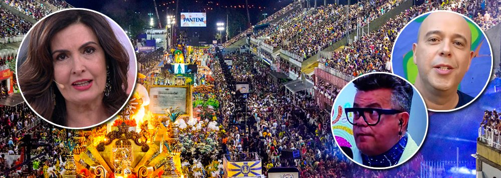 """""""Do camarote da Globo, onde narrava o desfile, Fátima Bernardes, Alex Escobar e Milton Cunha reagiram com comedimento ao surpreendente protesto, como se estivessem constrangidos"""", comenta o colunista de TV Mauricio Stycer;""""Os manifestoches"""", leu ela, ao ver passar a ala com os patos, sem dizer mais nada; quando passou o vampiro Temer, com faixa presidencial, Milton disse apenas: """"o vampirão"""", e Fátima:""""vampiro neoliberalista"""""""