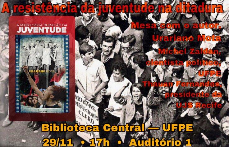 O autor Urariano Mota lança seu mais novo romance, A mais longa duração da rebeldia; no livro, é narrada a longa juventude dos que lutam contra a injustiça, não importa a idade, dos 16 aos maiores de 80 anos, focando na luta contra a ditadura militar brasileira