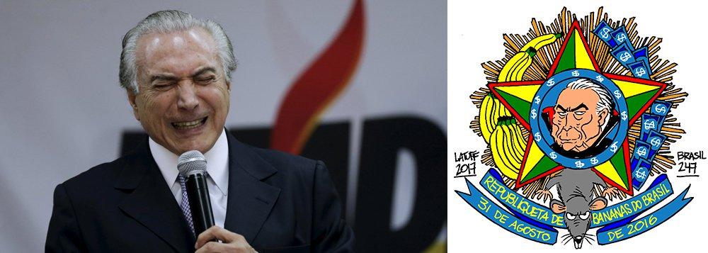No dia em que se comemora mais um ano da Proclamação da República no Brasil, o chargista Carlos Latuff propôs um novo brasão para simbolizar a república que se transformou o Brasil, depois do golpe parlamentar de 2016, que destituiu sem comprovação de crime uma presidente legítima e honesta e pôs em seu lugar um político acusado de chefiar uma quadrilha