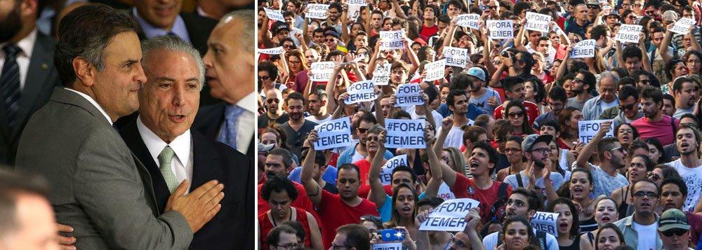 Michel Temer salvou Aécio Neves no Senado e Aécio Neves salvou Michel Temer na Câmara dos Deputados, mas ambos foram condenados pelo povo brasileiro; é isso o que mostra a nova rodada da pesquisa Ipsos, sobre aprovação e rejeição aos políticos brasileiros; enquanto Temer é rejeitado por 95% dos brasileiros, Aécio tem a rejeição de 93%; os dois são os principais responsáveis, ao lado de Eduardo Cunha, condenado a 15 anos de prisão, pela destruição da democracia brasileira e da imagem do País no mundo; enquanto isso, o ex-presidente Lula já aparece como o político mais admirado do País, com 41% de aprovação