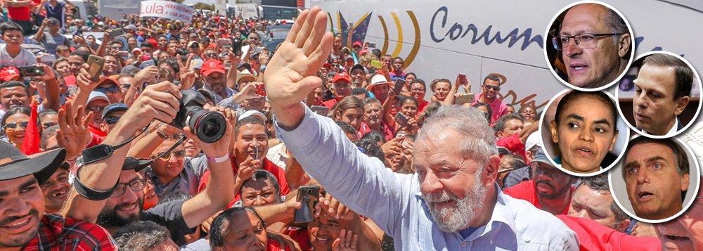 Em todos os cenários da nova pesquisa Datafolha, o ex-presidente derrota seus adversários com facilidade; o levantamento mostra ainda queLula ampliou sua vantagem e também leva em todas as possibilidades de segundo turno; em um cenário com a ex-ministra do Meio Ambiente Marina Silva, Lula teria 44% dos votos , contra 36% da líder da Rede; contra os tucanos, a diferença é ainda maior; nos cenários em que Lula enfrenta Geraldo Alckmin, o petista teria 46%, contra 32% dos votos no tucano; se o candidato for João Doria, Lula teria ainda mais votos: 48%, contra 32% do prefeito; enfrentando Jair Bolsonaro, Lula ganharia por 47%, contra 33% do deputado