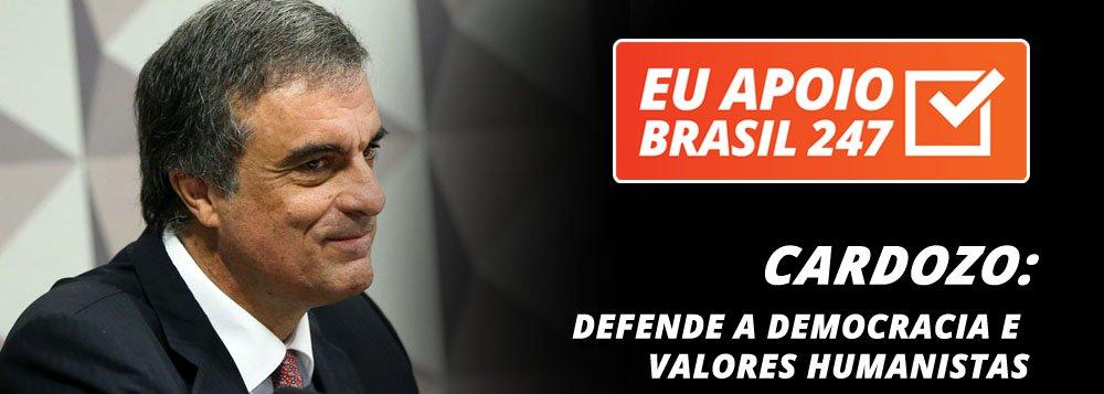 """O ex-ministro José Eduardo Cardozo, advogado da presidente deposta Dilma Rousseff, também apoia a campanha de assinaturas solidárias do 247. """"O Brasil 247 tem um papel muito importante neste momento, como vem tendo ao longo deste período, na defesa da democracia e de valores humanistas, para que possamos conviver com um governo democraticamente eleito, para que possamos nos afastar do golpe de 2016 e voltemos a afirmar a marcha do Brasil de combate à exclusão"""", diz ele."""